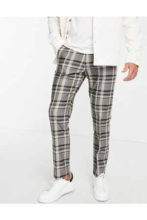 Topman Straight check trousers in stone
