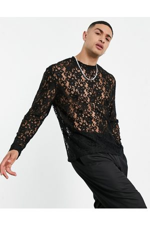 ASOS DESIGN Men Long Sleeve - Relaxed long sleeve t-shirt in lace