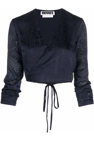 ROTATE Women Blouses - Cropped longsleeved wrap blouse