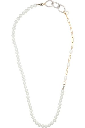 BLESS Men Necklaces - Silver Pearl Mix Material Necklace