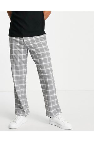 Topman Wide leg check trousers in grey and white