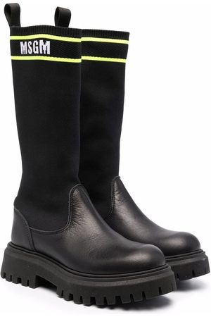 Msgm Sock-style panel leather boots