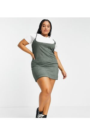 ASOS Women Casual Dresses - ASOS DESIGN Curve 2 in 1 tshirt mini dress with extreme neckline in khaki and white