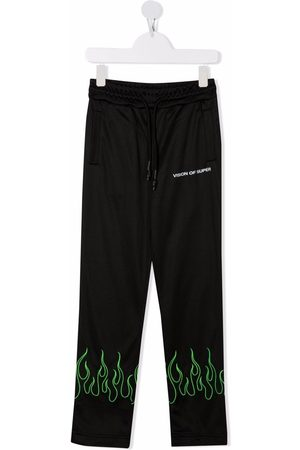 Vision Of Super Boys Pants - Flame-embroidery track trousers