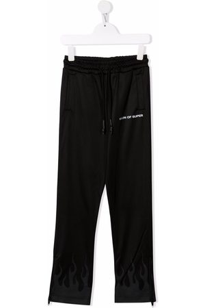 Vision Of Super Boys Pants - Flame-print track trousers