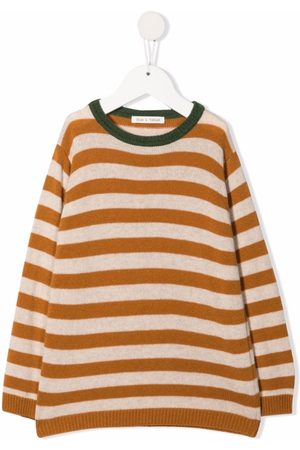 Zhoe & Tobiah Striped neck-piping jumper