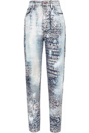 Dolce & Gabbana Women Tapered - Logo-print tapered jeans