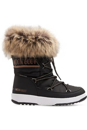 MOON BOOT Nylon Ankle Snow Boots W/ Faux Fur