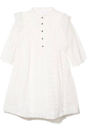 Chloé Kids Girls Casual Dresses - Embroidered ruffed pleated dress