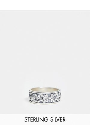 Serge DeNimes Sterling band ring with flower engraving and red stone