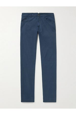 Canali Men Stretch Pants - Stretch Lyocell and Cotton-Blend Trousers