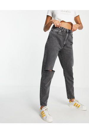 Cotton On Mom jeans with ripped knee in washed