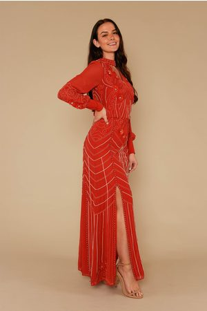 Frock and Frill Lexie Long Sleeve Embellished Maxi Dress