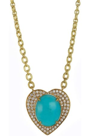 IRENE NEUWIRTH JEWELRY Women Necklaces - Turquoise and Diamond Heart Necklace