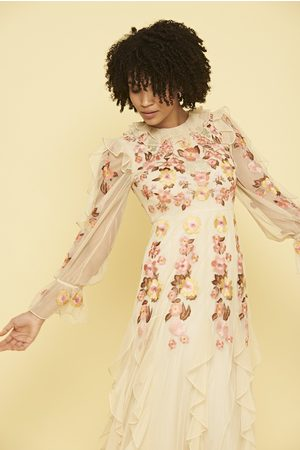 Frock and Frill Laekyn Floral Embroidered Maxi Dress with Ruffle Detail
