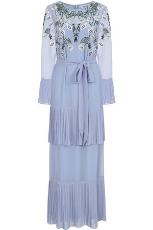 Frock and Frill Lainey Tiered Maxi Dress with Floral Embroidery