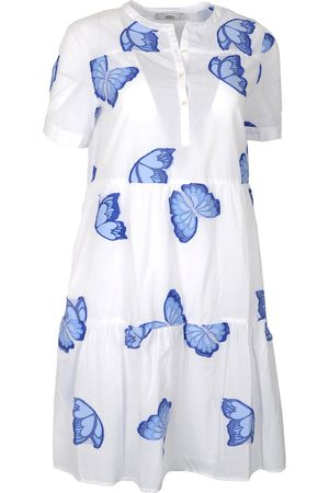 0039 Italy RICCI Knee Length Butterfly Dress White & Blue