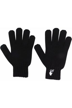 Off-White Embroidered-logo knitted gloves