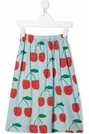 The Animals Observatory Cherry-print plated skirt