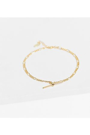Orelia T-bar figaro chain anklet in plate