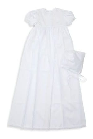 Kissy Kissy Baby Girl's 2-Piece Besos Christening Annalise Gown & Hat Set