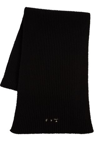 OFF-WHITE Logo Knit Ribbed Wool Scarf