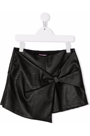 Pinko Kids Boys Bow Ties - Leather-effect bow-detail shorts