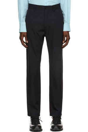 Burberry Navy Technical Wool Monogram Tailored Trousers
