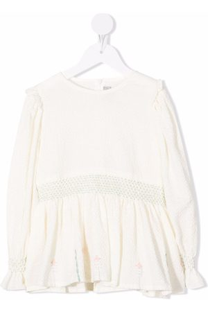 Il gufo Girls Blouses - Seersucker embroidered blouse