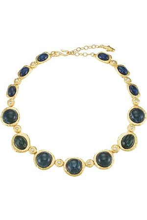 Kenneth Jay Lane Goldtone Faux Sapphire Collar Necklace