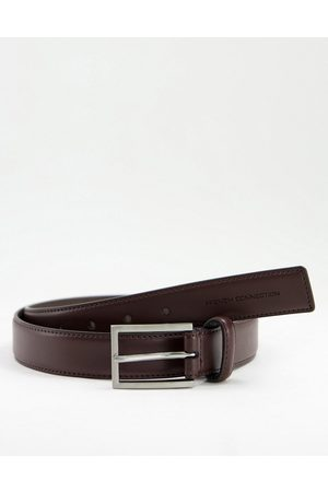 French Connection Leather square buckle belt in