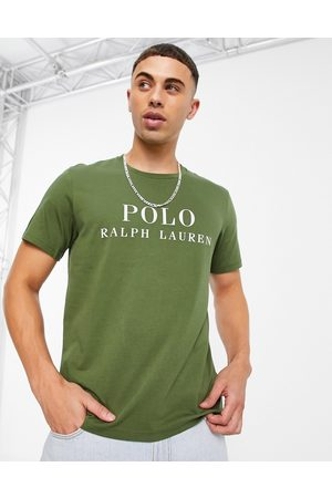 Polo Ralph Lauren Lounge t-shirt with text chest logo in olive