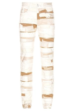 Givenchy Lace & Leather Jeans in &