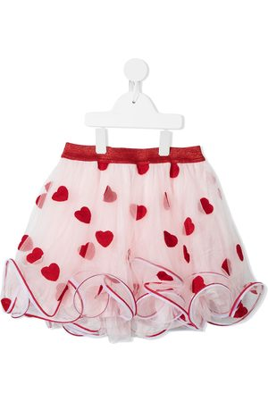 Charabia Heart-embroidered tulle-layered skirt