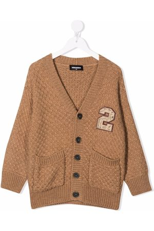 Dsquared2 Kids Boys Cardigans - Embroidered badge textured-knit cardigan