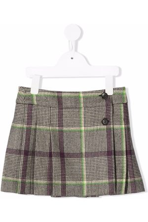 Bonpoint Checked pleated wool skirt