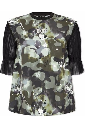 DKNY Girls T-shirts - Camouflage-print tulle-sleeve T-shirt