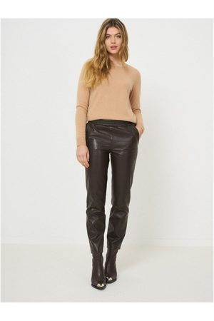 Repeat Cashmere Faux Leather Elasticated Trousers Colour: Chocolate, S