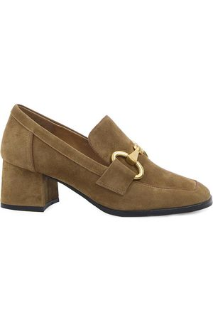 Bibi Lou Suede Heeled Loafers in Camel