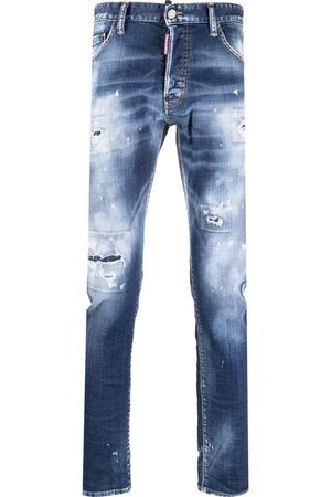 Dsquared2 Men's Navy bleach-wash mid-rise skinny jeans
