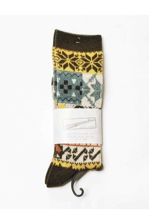 Anonymous-ism Anonymous Ism Multi Pattern Jacquard Crew Socks - Moss ONE SIZE, Colour: Moss