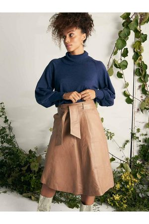 Once Was OnceWas Montaigne Flared Leather Skirt Husk