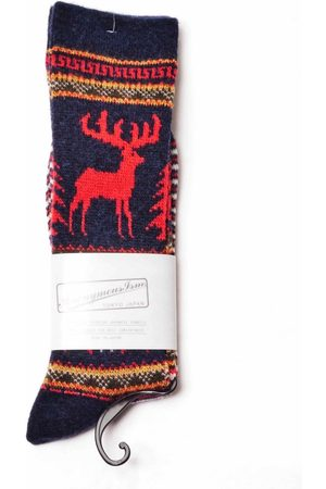 Anonymous-ism Anonymous Ism Wool Deer Snow JQ Crew Socks - Navy ONE SIZE, Colour: Navy
