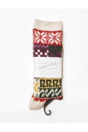 Anonymous-ism Anonymous Ism Multi Pattern Jacquard Crew Socks - Oatmeal ONE SIZE, Colour: Oatmeal