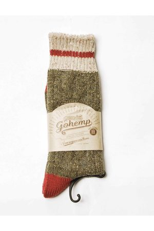 Anonymous-ism Anonymous Ism Go Hemp Cable Line Crew Socks - Olive ONE SIZE, Colour: Olive
