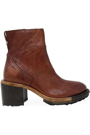 MOMA Luggage Tan Leather Side Zip Ankle Boot