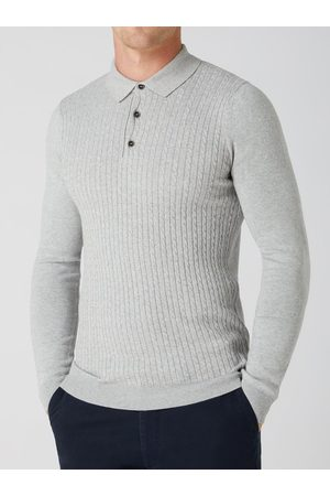 Remus Uomo Cable-Knit Long-Sleeved Knitted Polo Shirt