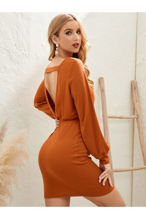 YOINS Cut Out Backless Design Round Neck Long Sleeves Mini Dress