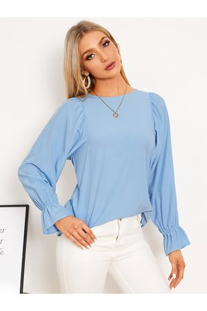 YOINS Ruched Details Crew Neck Bell Sleeves Blouse