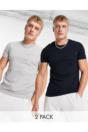 French Connection 2 pack pocket t-shirt in charcoal & white